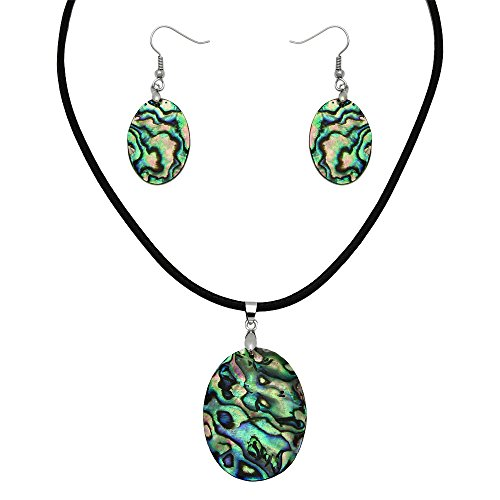 Falari Green Abalone Necklace Earring Set Black Leather Cord Oval2 S0054 -