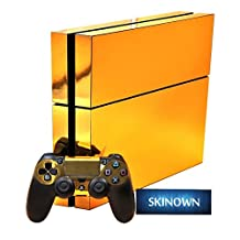 SKINOWN? PS4 Skins Golden Skin Gold Sticker Vinly Decal Cover for Sony PS4 PlayStation 4 Console and Controller by SKINOWN