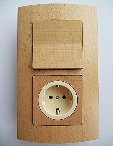 Madera Interruptor Interruptor de luz/enchufes Progr. Sirius haya natural lacado 2 capas Combinación 1 x interruptor de cambio y 1 x Caja de enchufe, color beis: Amazon.es: Iluminación