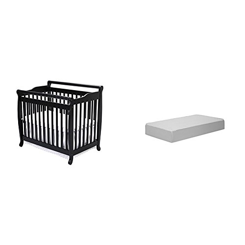 Emily 2-in-1 Mini Crib and Twin Bed with Complete Mini Mattress with Hypoallergenic Waterproof Cover