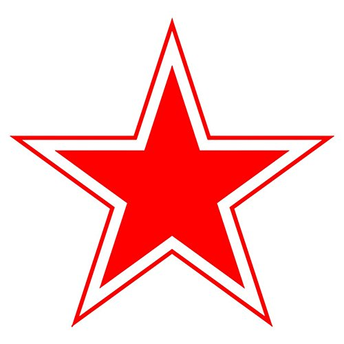 Red Star Coat of Arms Soviet Union CCCP SSSR USSR Russia Red Army (red 10x10cm) - Sticker Wall Decoration