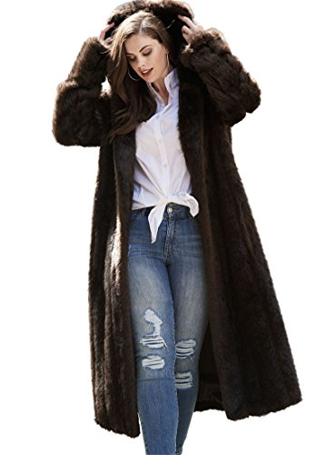 dd2dbc9ad97 Galleon - Roamans Women s Plus Size Full Length Faux-Fur Coat With Hood
