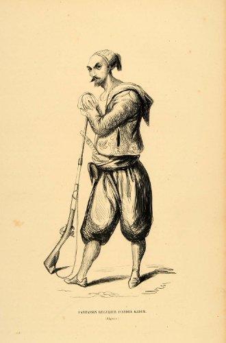 1844 Engraving Costume Infantry Soldier Gun Man Algeria - Original (Algerian Costume For Men)