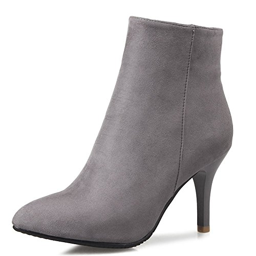 KingRover Women's Sexy Pointed Toe Classic Ankle Boots for Women Side Zipper Dress Simple High Heels Faux Suede Shoes Ladies Booties BeBRTKT