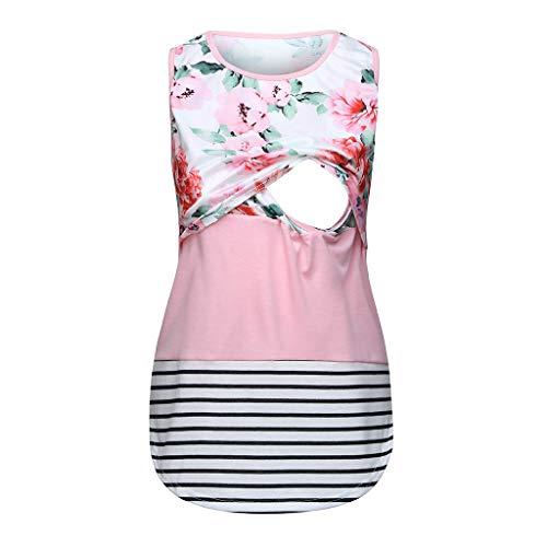 Women Maternity Breastfeeding Floral Flare Tee Sleeveless Nursing Shirt Swing TunicTank Tops Pink