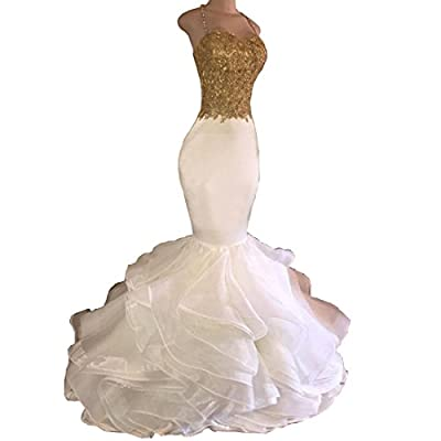 Chady White and Gold mermaid Prom Dresses 2017 Long Beaded Sexy Mermaid Party Dresses Evening Gowns