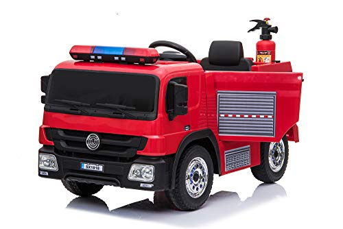 Alison 12V Kids Fire Engine Truck Children Electric car Kids fire Truck Toy with Luminous Wheels, Water Gun ,hat Extinguisher ,Remote Control, Warning lamp,2 Speeds, (red)