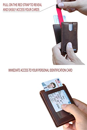 Travel Wallet RFID Blocking Bifold Slim Genuine Leather Thin Minimalist Front Pocket Wallets for Men Money Clip - Made From Full Grain Leather (Texas Brown 1.S)