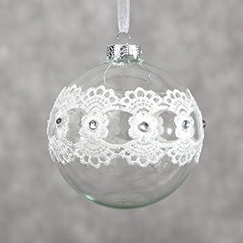 10 Cm Weiss Ecru Silber Kugel Weihnachtskugel Glas Glaskugel Brokat