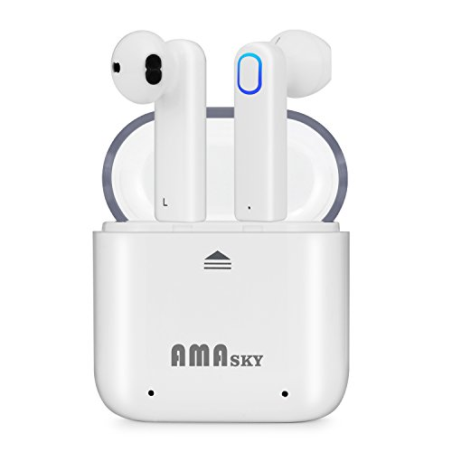 Wireless Headphones, AMASKY Bluetooth Earbuds True wireless Earphones Stereo Sports Headsets with Charging Case Noise Cancelling Sweatproof Earpiece for iPhone Samsung Smartphone (white) by amasky