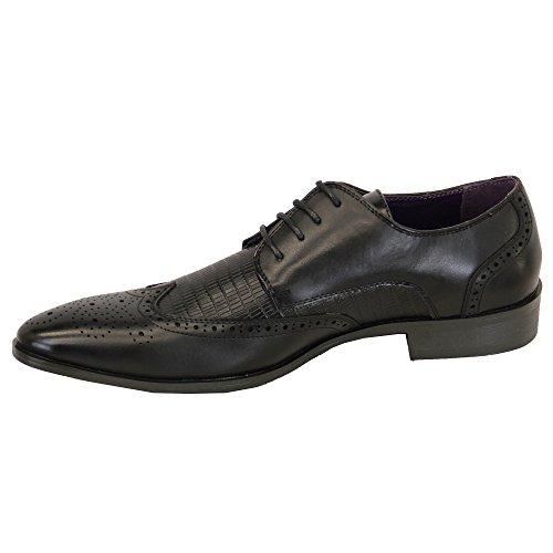 Belide Herren Lederoptik Brogue Schnürbar Spitz Formelle Italienische Schuhe Schwarz - M009