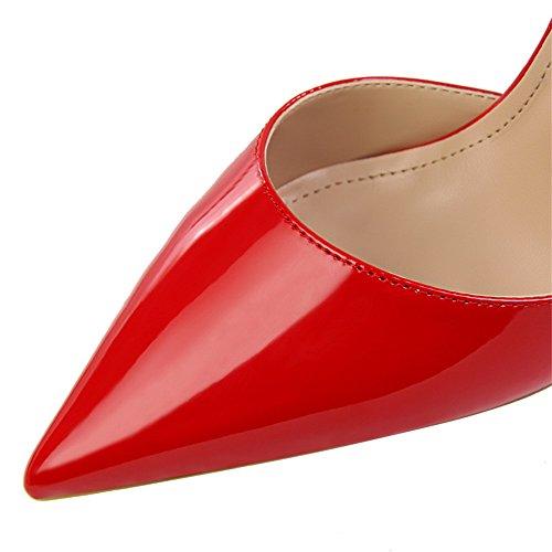z&dw Mostrar fino fina con tacones altos boca de charol hueco puntiagudo con sandalias Rojo