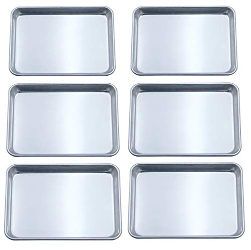 Checkered Chef Quarter Sheet Pan Six Pack - 6 Small Baking Sheets 9 ½ x 13 Inches. Aluminum Rimmed Cookie 1/4 Sheet Pans For Baking (Cook Aluminum Sheet)