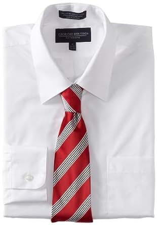 Giorgio Brutini Men's Dress Shirt and Tie Box Gift Set, White, 34x35/18-18.5