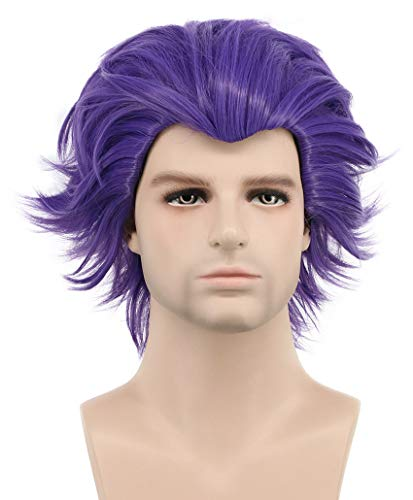 Karlery Mens Short Bob Curly Wave Dark Purple Wig Halloween Cosplay Wig Anime Costume Party Wig -