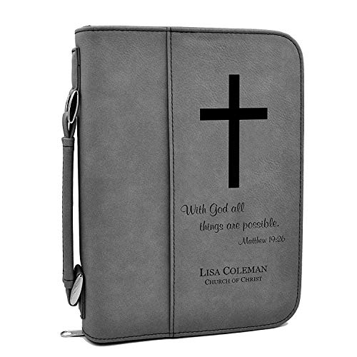 Custom Bible Cover | with God All Things are Possible |Personalized Bible Cover (Gray) (Leather Bible Cover Custom)