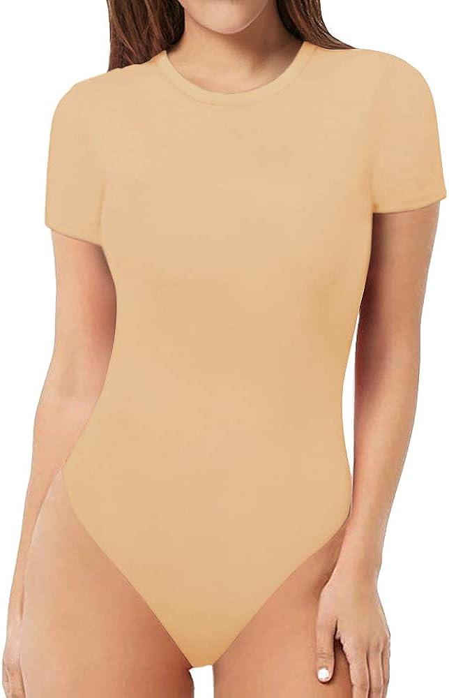 MANGOPOP Womens Round Neck Short Sleeve T Shirts Basic Bodysuits