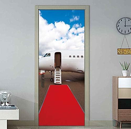 kwpkh Pegatinas De La Puerta 3D Alfombra Roja Avión De Viaje Decoración para El Hogar De PVC Pared De DIY Dormitorio Tatuajes De Puerta Mural Poster 77 * 200CM: Amazon.es: Hogar