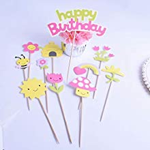 SHAMI Happy birthday Cake Topper Bumble Bee Cupcake Toppers for Bee Themed Happy Birthday Party Baby Gender Reveal Party Baby Shower First Decoration