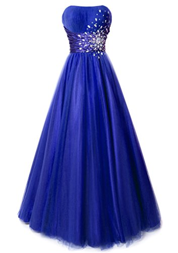 Fiesta Formals Strapless Princess Ball Gown Prom Dress With Gems - Royal - - Mail Usps Times Shipping Priority