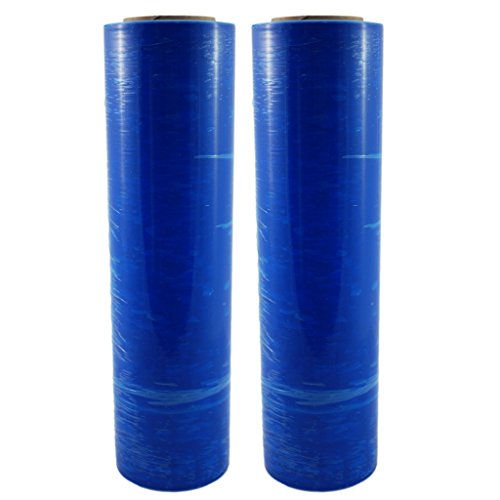 "TotalPack Shrink Wrap: Stretch Film Plastic Wrap 2 Pack - Industrial Strength Hand Stretch Wrap, 18""x 1,000 FT, 85 Gauge Shrink Film / Pallet Wrap - Blue"