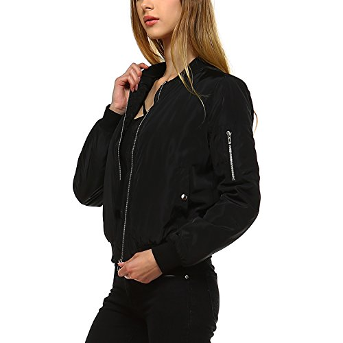 Fashionazzle Women's Solid Classic Zip Up Quilted Short Bomber Jacket Padding Coat (Large, BMJ01-Black)