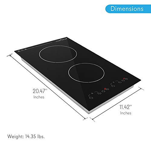 Dual 120V Electric Induction Cooker - 1800w Portable Digital Ceramic Countertop Double Burner Cooktop w/ Countdown Timer - Works w/ Stainless Steel Pan / Magnetic Cookware - NutriChef PKSTIND52 by NutriChef (Image #1)