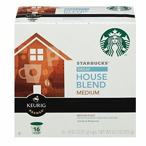 Starbucks Coffee * Decaffeinated House Blend * Medium, 16 K-cups [Pack of (Starbucks Decaffeinated Tea)