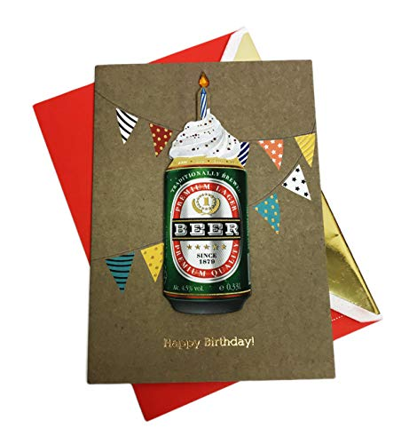 "Embellished Lager Beer with Frosting Festive 5"" x 7"" Birthday Celebration Greeting Card & Envelope"