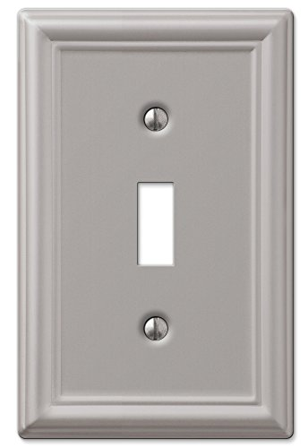 AmerTac 149TBN Chelsea Steel Single Toggle Wallplate, Brushed Nickel