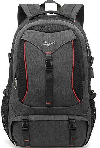 Cafele Fashion Laptop Backpack Contains Multi-Function Pockets, Durable Travel Backpack with USB Charging Port Stylish Water Resistant School Bag Fits 17.3 Inch Laptop Comfort Pack for Women Men Gray