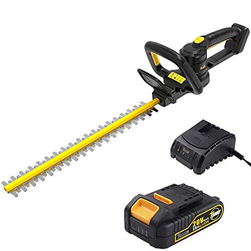 TECCPO Hedge Trimmer, 20in. Blade Length, 3/4in. Cutting Thickness, 20V 2Ah Lithium Ion, Double Blade and Cordless, Professional, Battery and Charger Include - TDHT02G