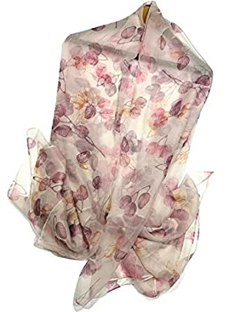 """Shanlin Super Large Silk Feel Floral Scarves for Women in Gift Box - Off-white - 70.5"""" x 55"""" (180x140cm)"""