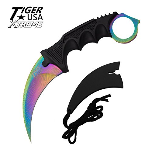 Tiger-USA X-treme Rainbow Damascus Karambit Ranger Fixed Blade Neck Knife with Sheath ()