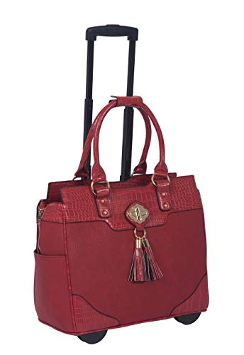 Briefcase Ladies Removable Wheeled (JKM and Company The Phoenix Red Alligator Faux Leather Compatible with Computer iPad, Laptop Tablet Rolling Tote Bag Briefcase Carryall Bag)
