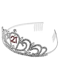 Baoblaze Delicate Crystal Birthday Tiara Rhinestone Crown Birthday Crowns Happy 21st 16th Birthday Tiara
