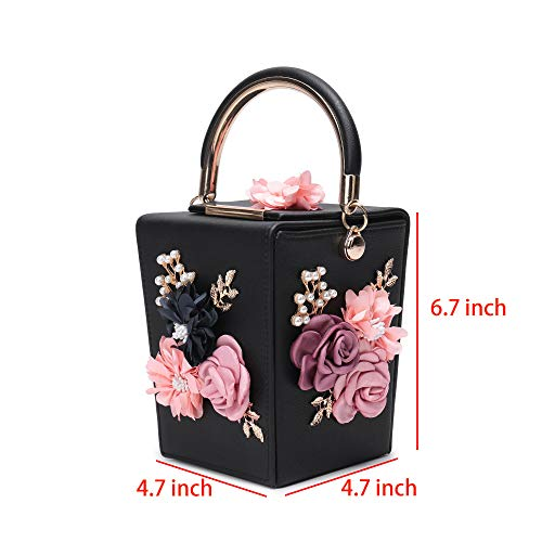 Prom Flower Black Wedding Box for Satin Clutch Evening Bridal Clutch Women Party Bag Cocktail RwvqO5