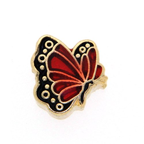January Butterfly Enamel Birthmonth Charm for Floating Lockets, Goldtone