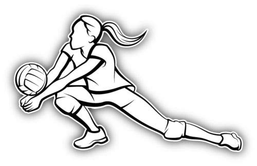 (Craftmag Girl Volleyball Player Silhouette Vinyl Sticker Decal Outside Inside Using for Laptops Water Bottles Cars Trucks Bumpers Walls, 5'' x 3'')