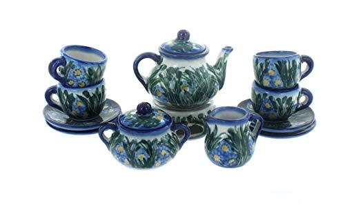 OKSLO Polish pottery wild flowers miniature tea set (Polish Pottery Miniature Tea Set)