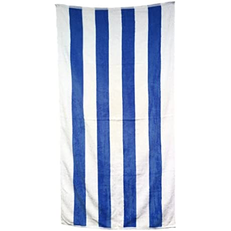 Case Of 24 100 Cabana Stripe Terry Velour Beach Towels 30 X 62 Royal Blue White