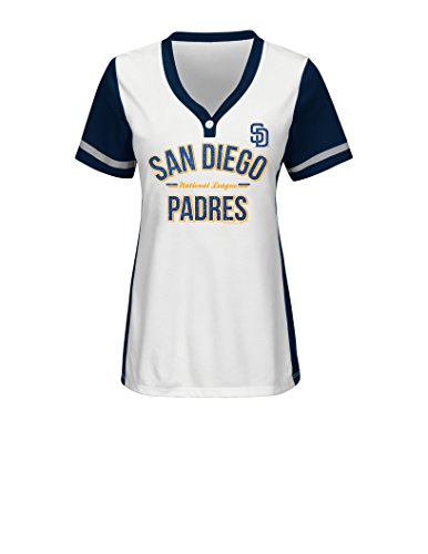 MLB San Diego Padres Women's Team Name Rugged Competitor Pull Over Color Block Jersey, Medium, White/Athletic Navy