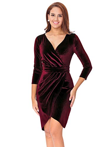 InsNova Women's Long Sleeve Velvet Bodycon Wrap Dress for Wedding Guest (X-Large, Burgundy-V Neck)