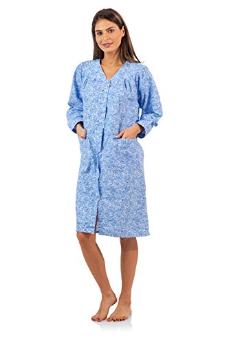 Flannel Duster (Casual Nights Women's Garden Flannel Duster Dress - Blue -)