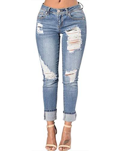 Denim Skinny Lunghi Jeans Pantaloni Blu Strappati Donna Anyua IPdpqxwRI