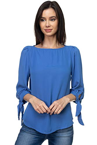 VIA Jay Women's Basic Casual Relaxed Loose 3/4 Sleeve Blouse Top (Denim Blue, - 3/4 Denim Sleeve Stretch Shirt