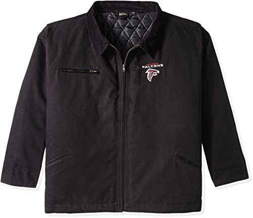 NFL Atlanta Falcons Tradesman Canvas Quilt Lined Jacket, Black, XX-Large by Dunbrooke Apparel