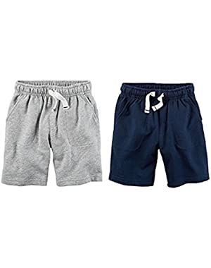 Carters Boys 2 Pack Pull-On French Terry Soft Shorts