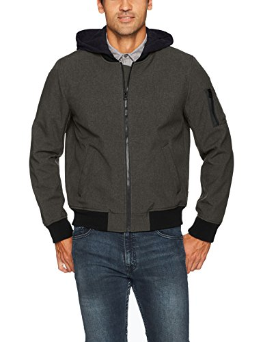Levi's Men's Soft Shell Hooded Flight Bomber Jacket, Heather Olive, X-Large by Levi's
