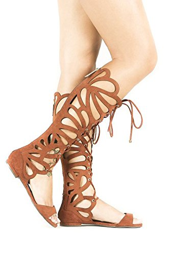 Sandals Pu Womens the Breckelles Knee Flat Gladiator Over 15 Solo Tan Yw8xxS7qB